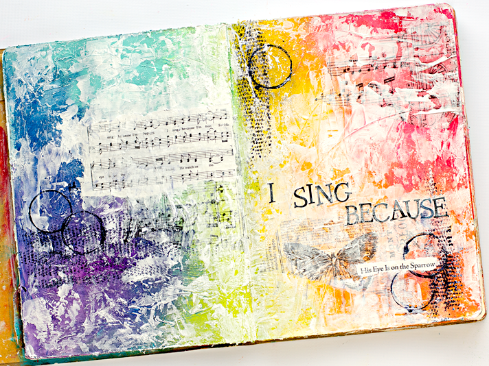 His Eye Is On The Sparrow - Mixed Collage Media Art Worship Art Journaling Page | Donna Downey's Inspiration Wednesday | She Reads Truth Hymns II Devotional