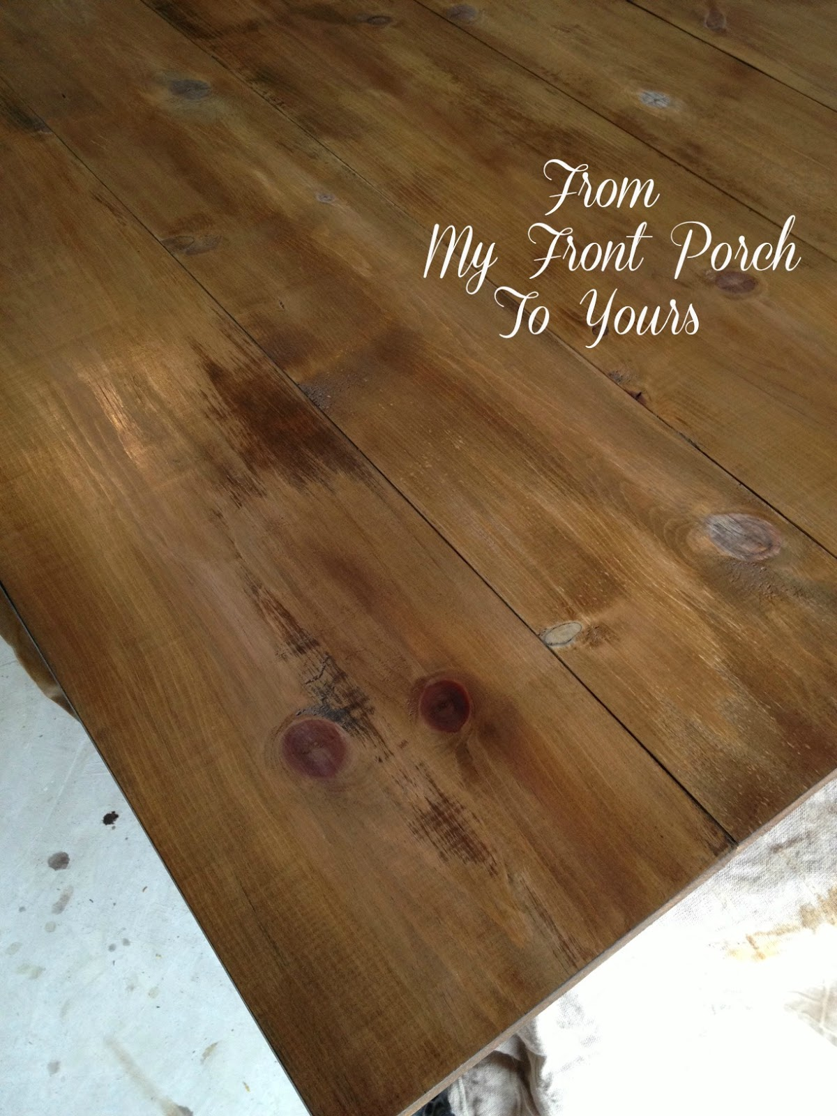 DIY Wood Planked Table Top  Farmhouse DIning Room Table  From My Front  Porch To
