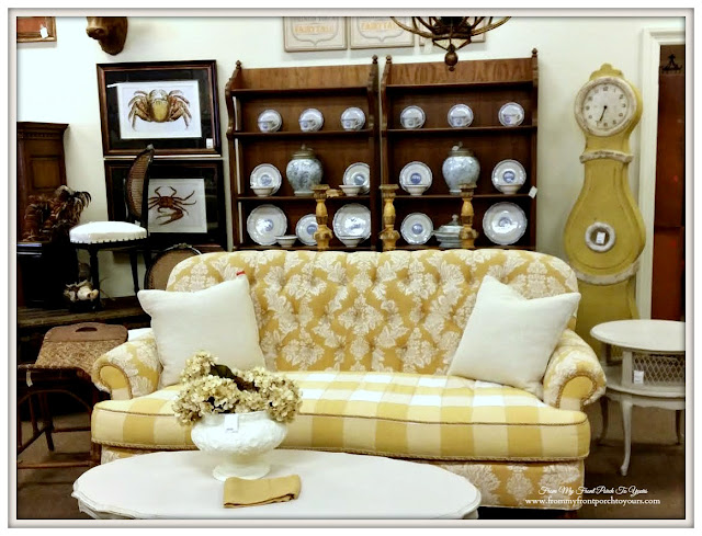 Yellow Damask Couch-Antique Shopping-SThe Savvy Shopper- From My Front Porch To Yours