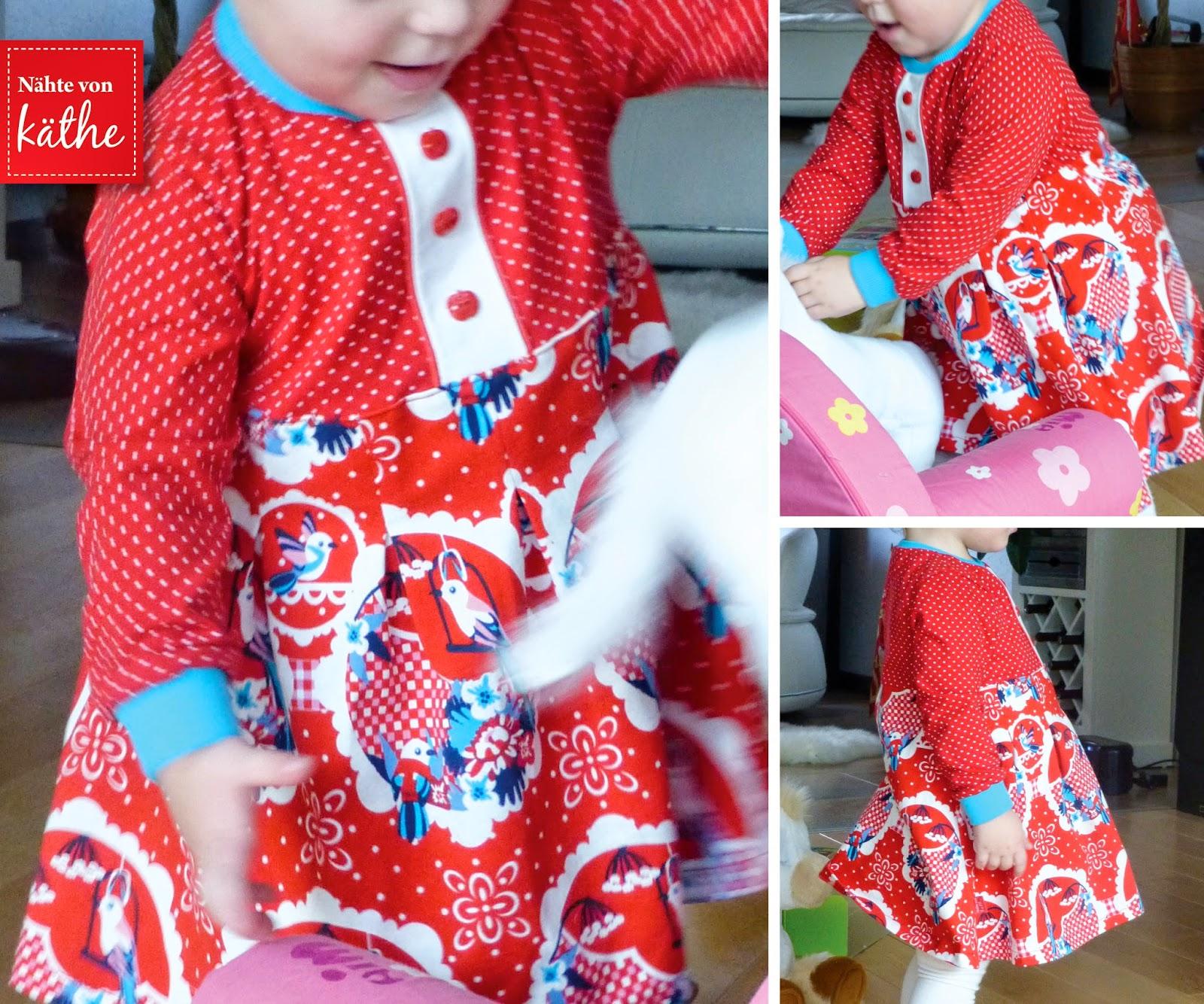 Kleid nach Taussendsassa mit Fakeknopfleiste und Kellerfalten
