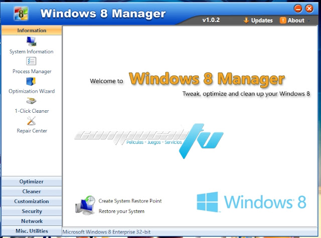 Windows 8 Manager Full Final Optimiza y Limpia tu Windows 8 Versión 1.1.7
