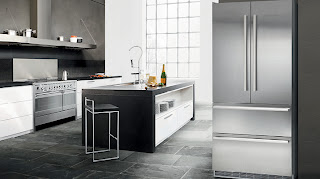 modern kitchen design with black french  door refrigerator and stainless steel