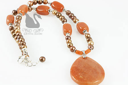 Red Aventurine Gemstone Freshwater Pearl Beaded Necklace (N040)
