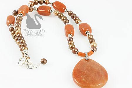 Red Aventurine Gemstone Freshwater Pearl Beaded Necklace (N040)