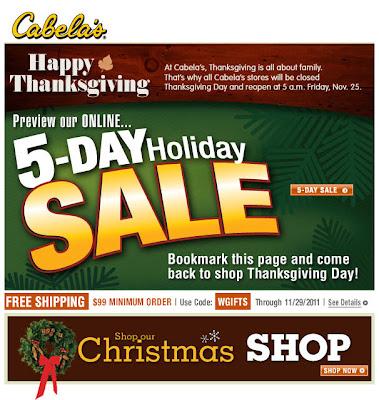 Nov. 22, 2011 Cabela's email