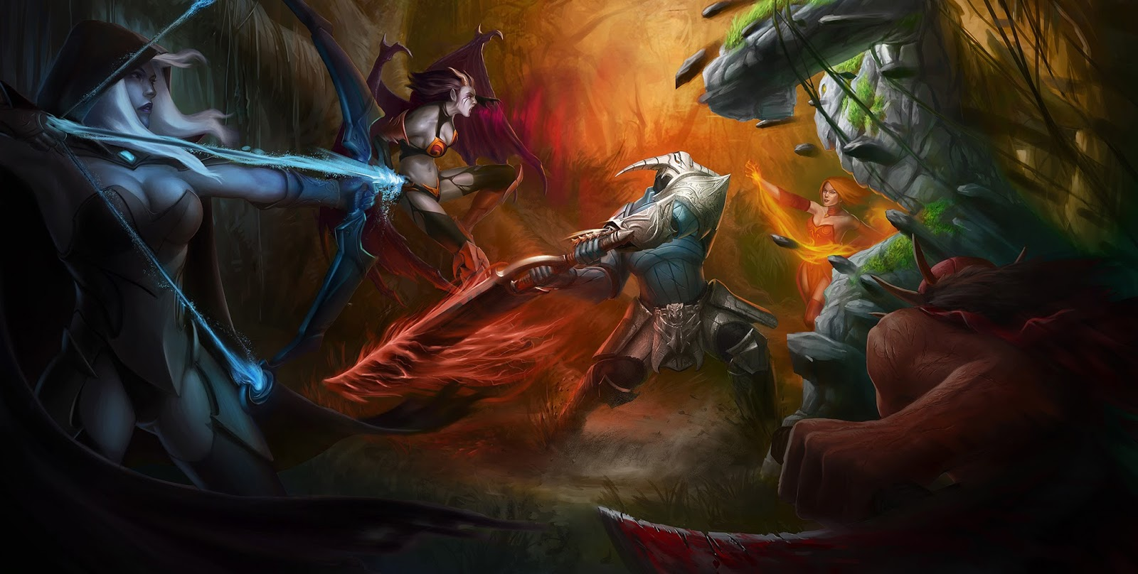Drow Ranger Bloodseeker Sven Tiny Lina Inverse Queen Of Pain DOTA 2