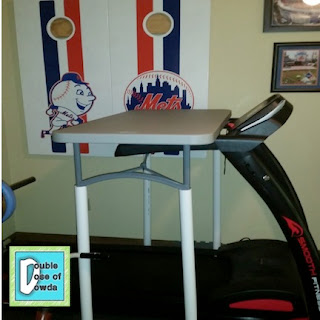 Treadmill desk made with a folding table and PVC pipes