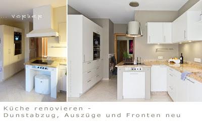 Küche vorher - nachher - ein neuer Dunstabzug gibt dieser Küche ein modernes Aussehen.