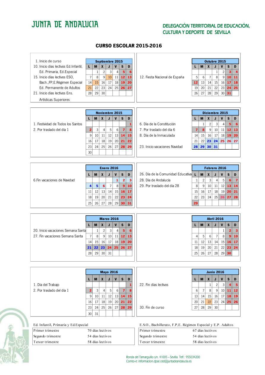 CALENDARIO ESCOLAR CURSO 2015-16