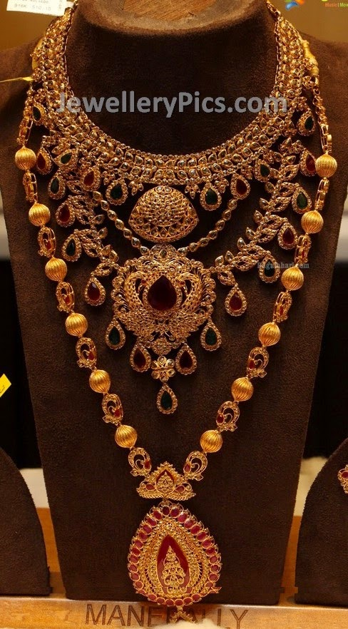 polki and rubies studded long chain