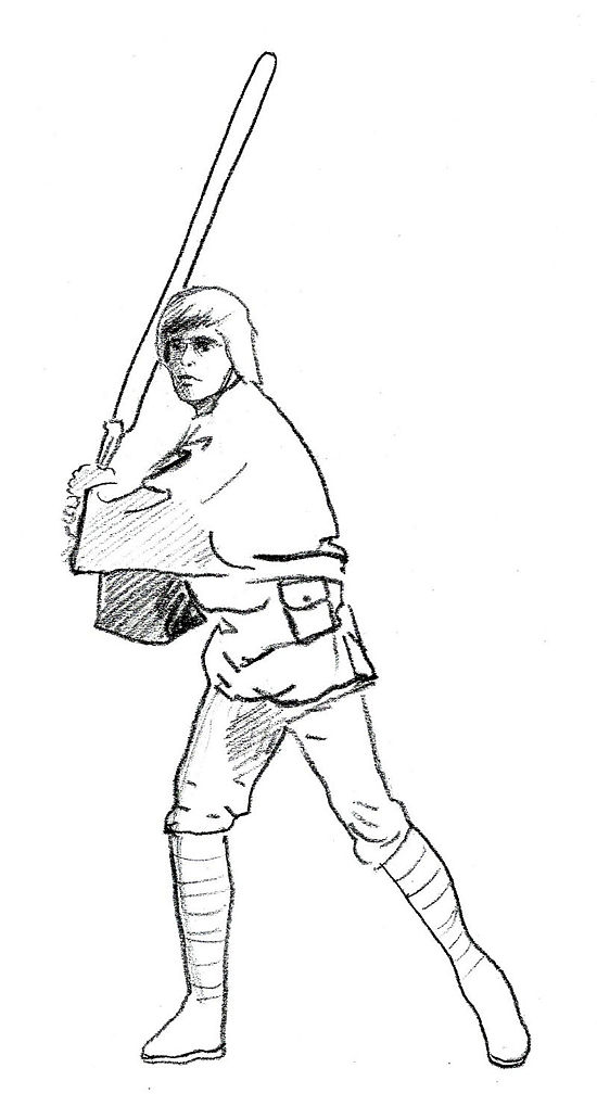 Side view ariel pencil coloring coloring pages for Luke skywalker coloring page