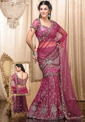 pink lehenga style saree