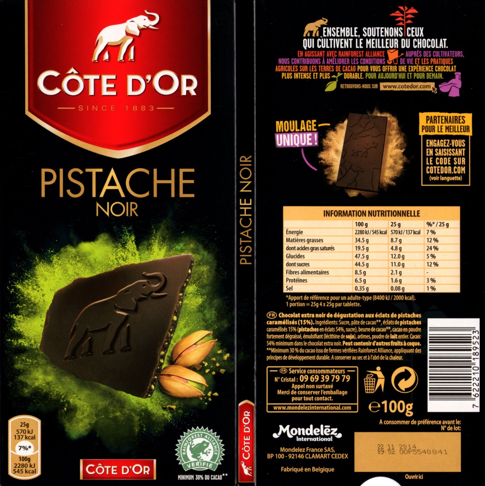 tablette de chocolat noir gourmand côte d'or pistache noir 54