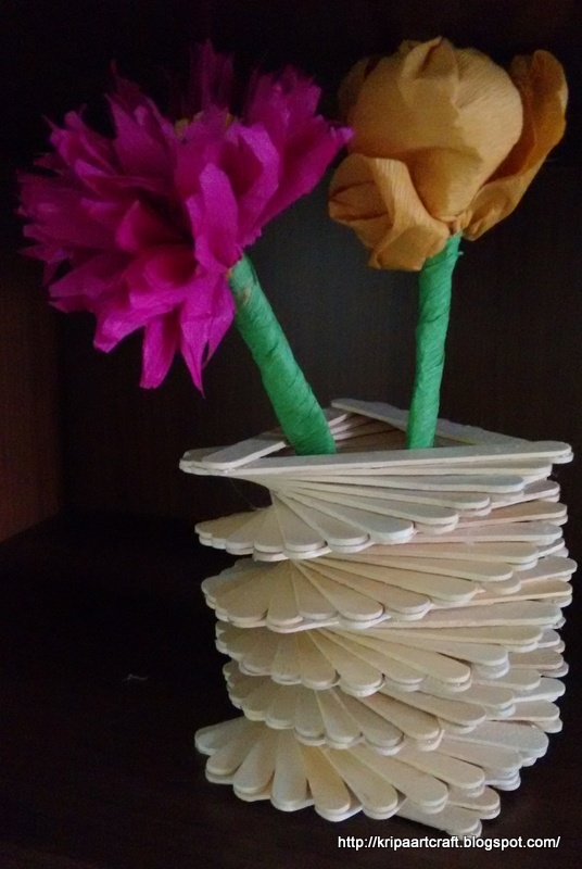 Art And Craft Popsicle Stick Vase