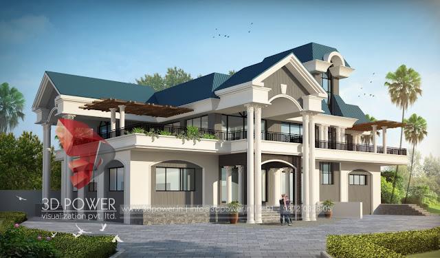 3d modern villa rendering view