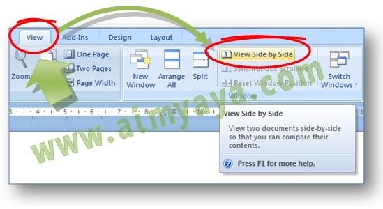 Gambar: Cara menyandingkan dan membandingkan dua buah file dokumen di  Microsoft Word