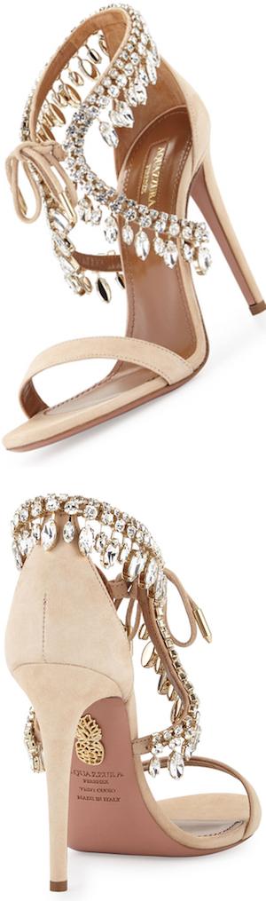 Aquazzura Milla Jeweled Suede Sandal, Nude