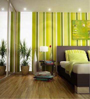 habitacion verde y amarillo