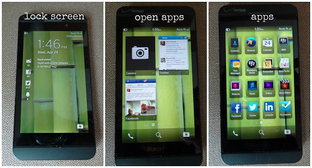 Here are the main screens on the Blackberry Z10. I love that you can
