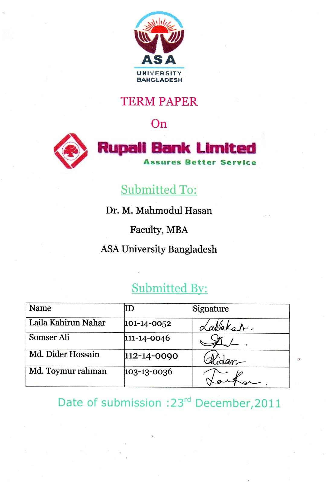 term papers on agrani bank bangladesh ltd Term paper thesis paper  later the management of agrani bank of bangladesh ltd, changed the name of the bank as agrani bank bangladesh ltd, the bank has got .
