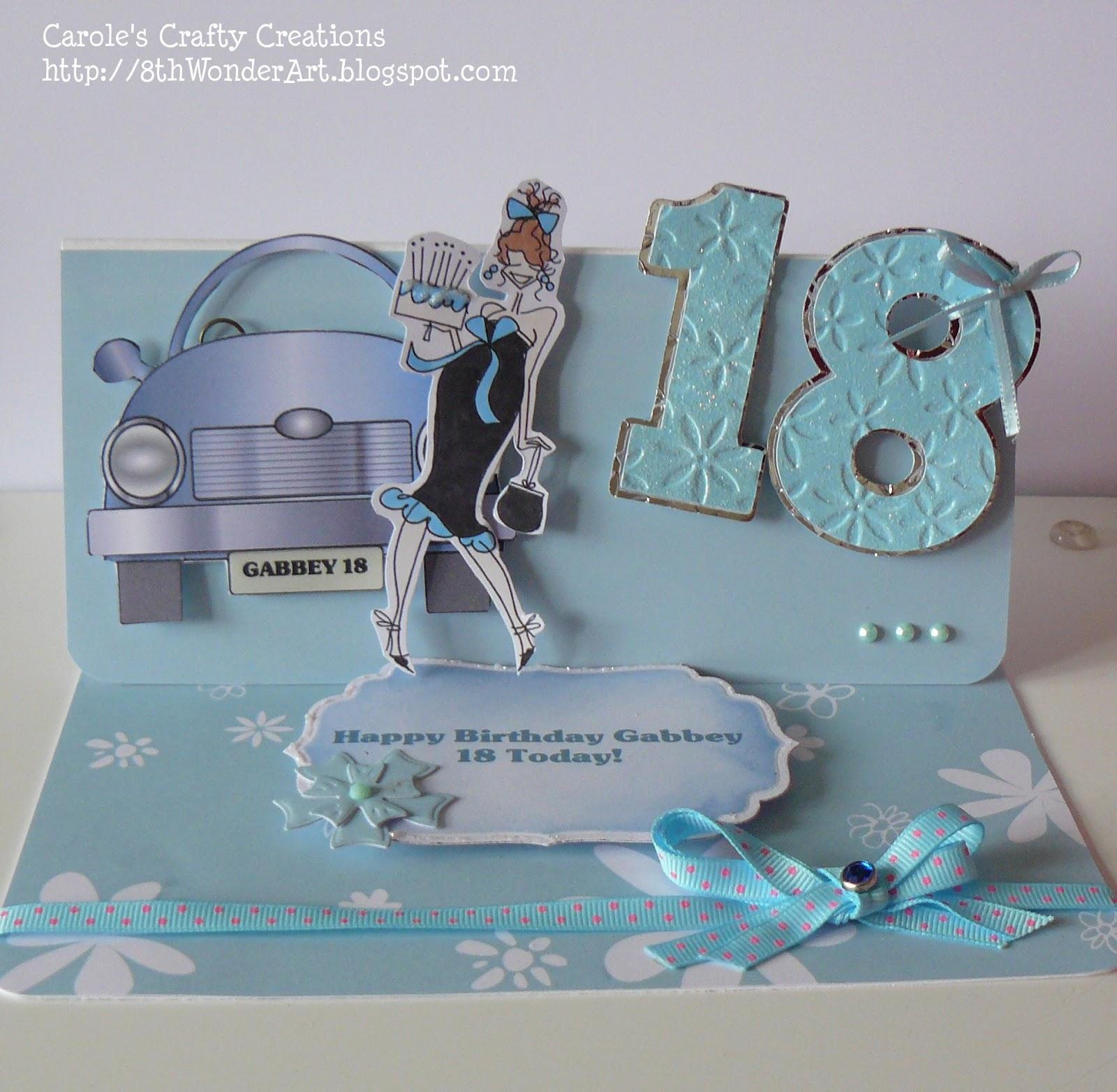 Caroles Crafty Creations: 18th Birthday Easel Card - 6th March