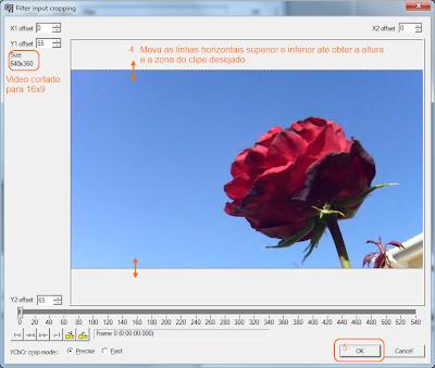 VirtualDub -  corte de video - passo 6- corte para 16x9