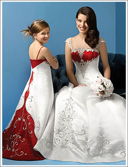 WEDDING PLAN Mixed White And Red Wedding Dress