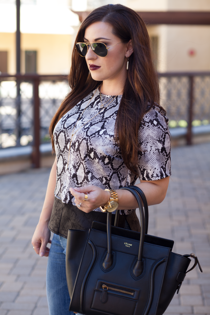celine bag, snakeskin top, gold accessories