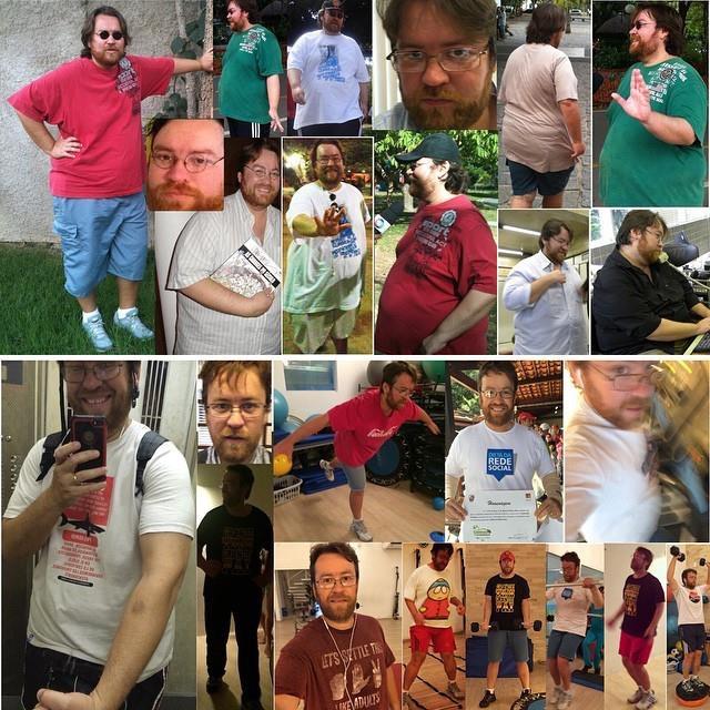 Antes e Depois (de 140 kg para 92 kg = -48 kg)