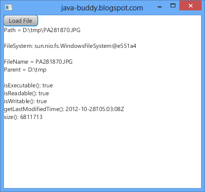 Get file info using java.nio.file.Path and java.nio.file.Files