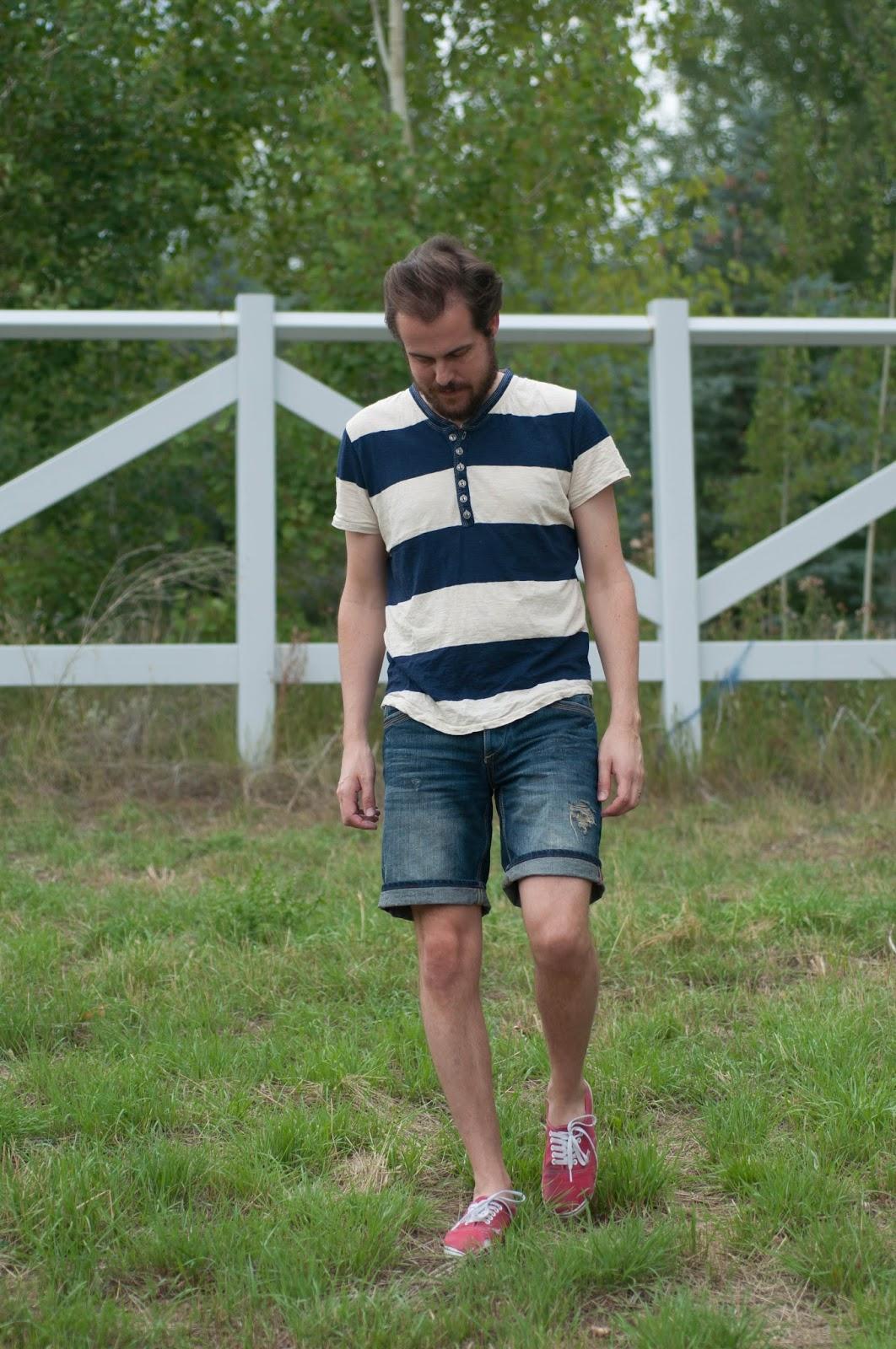 mens fashion, mens style, button t shirt, navy and cream, mens ootd, zara bermuda shorts