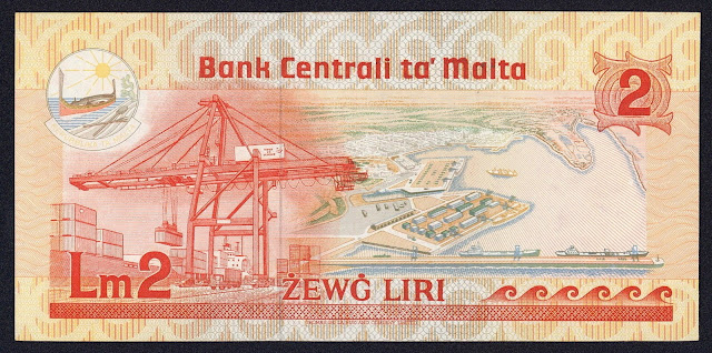 Malta money currency 2 Maltese Lira banknote 1986 Container Crane in the Port of Marsaxlokk & Malta Freeport