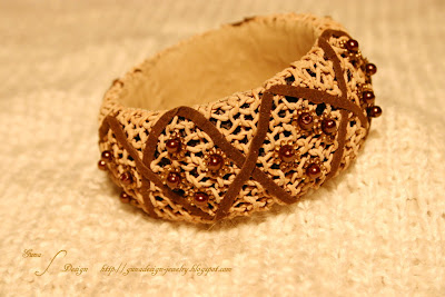 Knitted leather bangle with beads made by Gunadesign