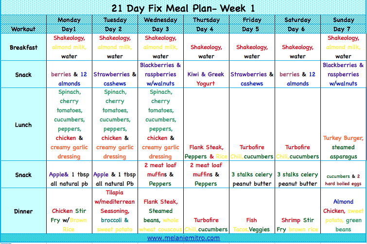 Unusual image for 21 day fix printable meal planner