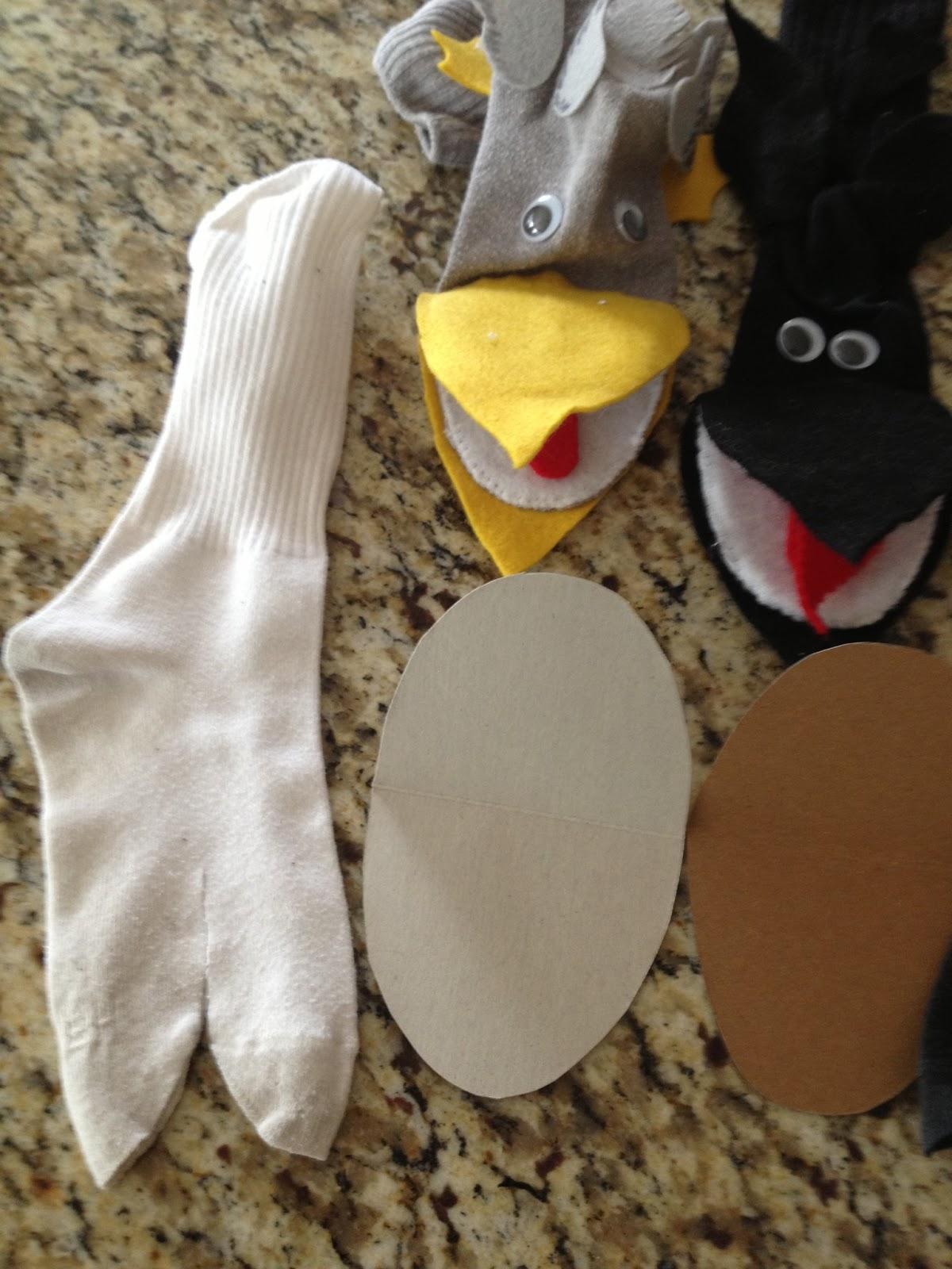 how to make a bird sock puppet
