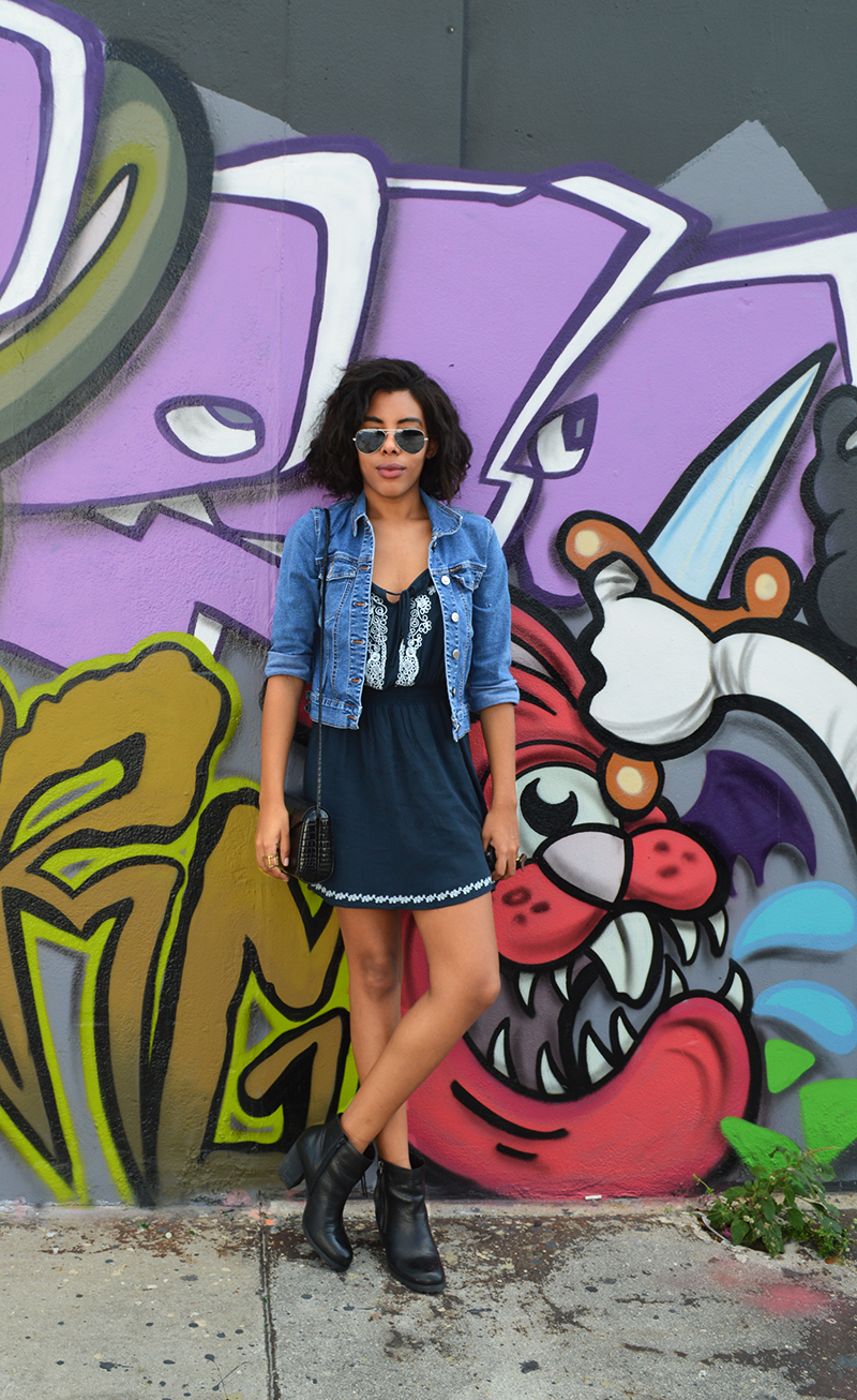 fashion blogger anais alexandre of down to stars wearing a vintage dress and marc fisher boots in wynwood