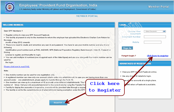 employee provident fund epfo e-passbook registration