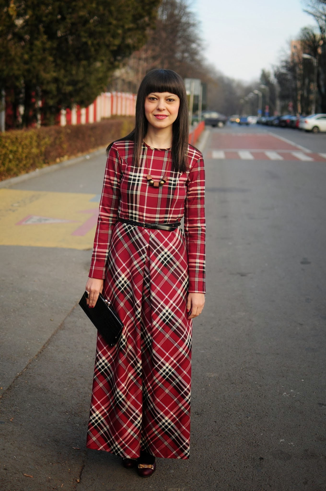 miss green - Christmas Plaid Dress