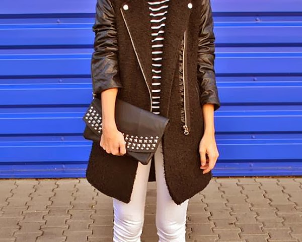 boyfriend coat with monochrome trend like here with a striped shirt & white pants