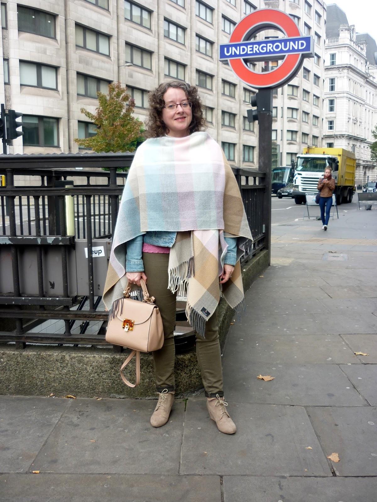 Pastel Cape, Denim Jacket, Khaki Jeans | Petite Silver Vixen