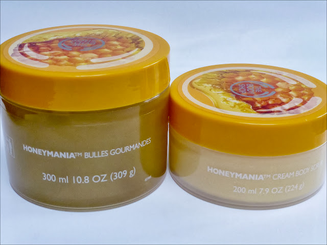 A picture of The Body Shop Honey Mania Bath Melt and Body Scrub