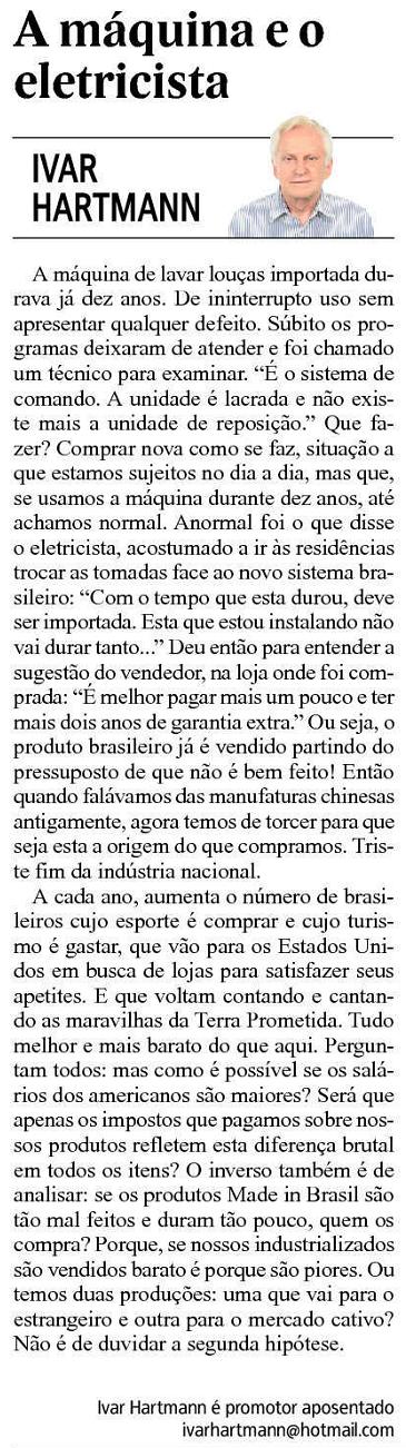 jornal nh ivar hartmann a maquina e o eletricista