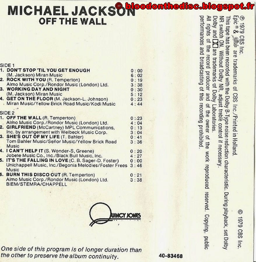 Off The Wall K7 - Back Cover
