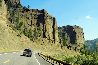 Driving on highway 20 outside of Yellowstone National Park in Wyoming