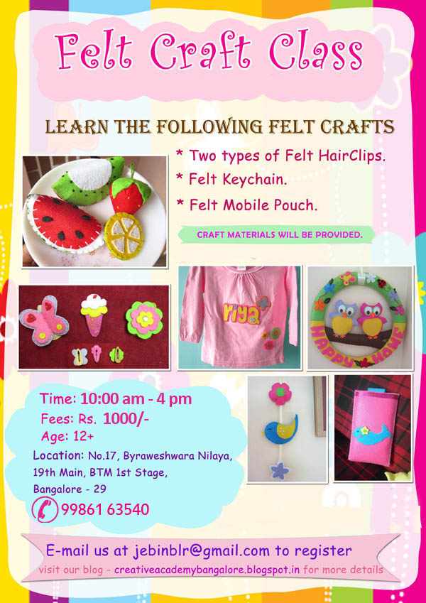 Creative academy bangalore felt craft classes for Crafts classes for adults