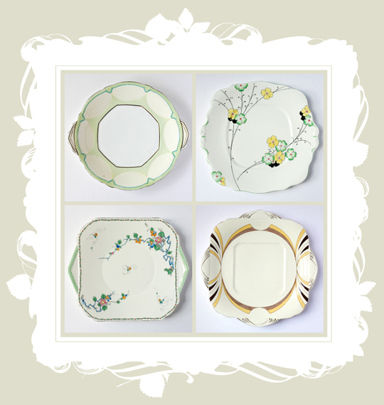 floral and patterned art deco dinner plates