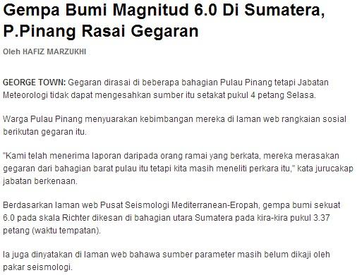 Gempa Bumi Di Sumatera, Penang Turut Bergegar