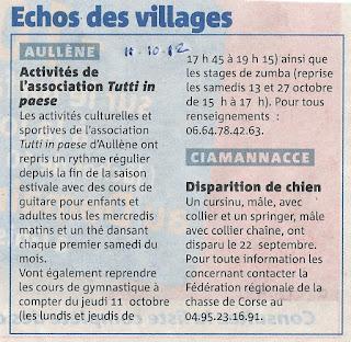 activités de l'association 'Tutti in paese' à Aullène en Alta rocca - guitare - thé dansant - gym - zumba