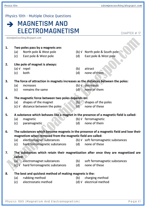 magnetism-and-electromagnetism-mcqs-physics-10th