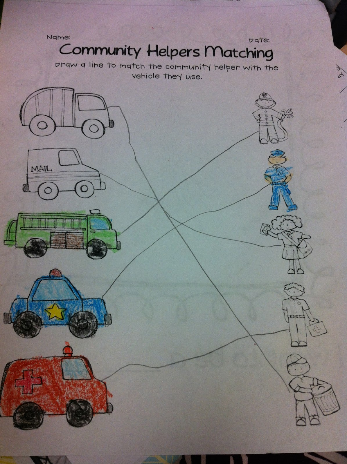 Displaying 17> Images For - Community Helpers Matching Worksheets...